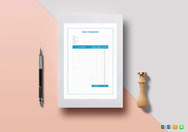 20  Daily Timesheet Templates   Free Sample  Example Format Download     Daily Timesheet Word Template