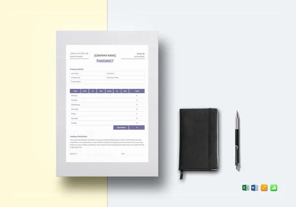 29  Free Timesheet Templates     Free Sample  Example Format Download     Simple Professional Timesheet Template