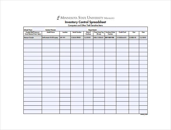 inventory sheet sample free download