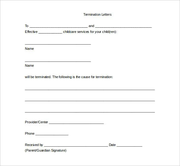 Termination Of Services Template contract termination contract – Termination Letter Template Free