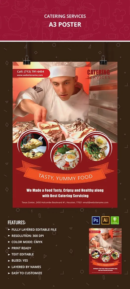Catering Services Poster Mockup Free Amp Premium Templates