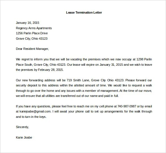 501 Best Printable Agreement Images On Pinterest – Lease Termination Letter Format