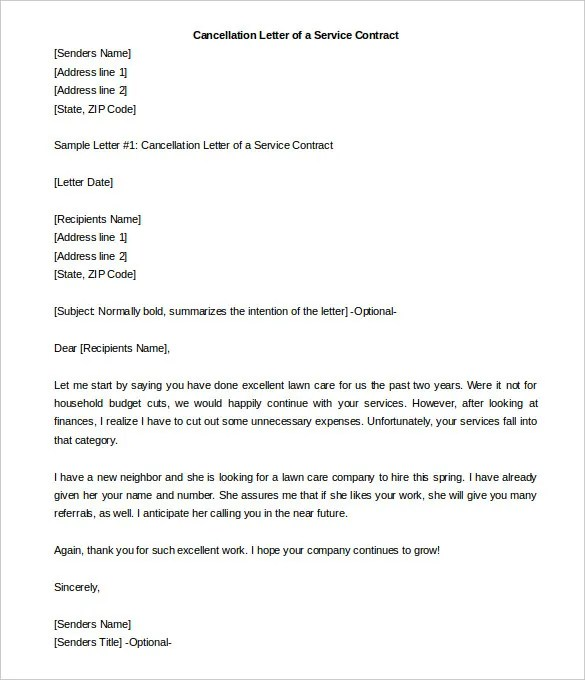 Contract Termination Letter Sample | Docoments Ojazlink