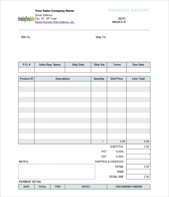 Receipt Of Payment Template. payment receipt template easy receipt ...