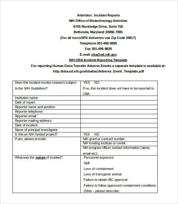 Medical Incident Report Template sample form sample free – Medical Incident Report Form
