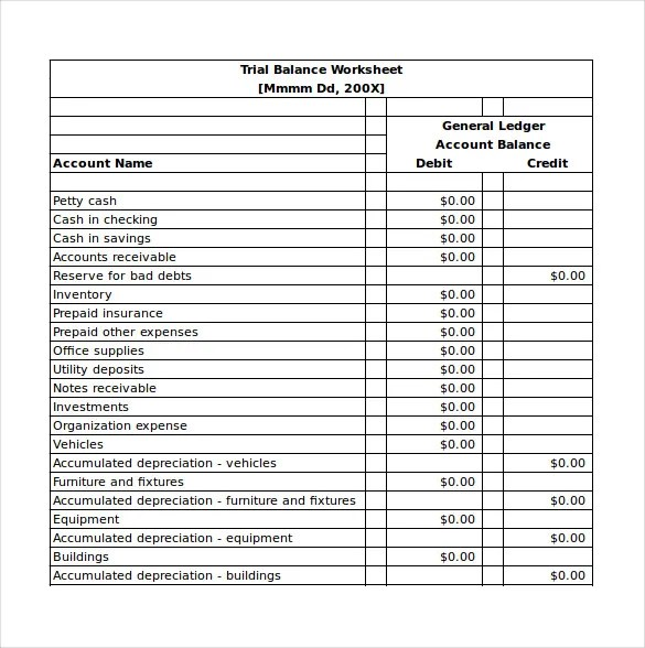 trial balance template excel