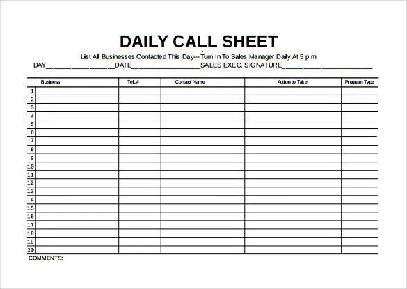 Daily Call Log Template Excel  Free Download