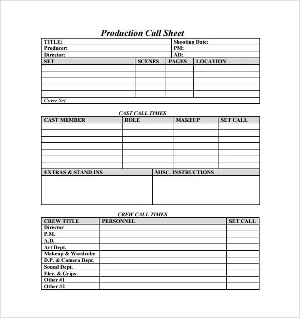 Makeup Artist Call Sheet Example
