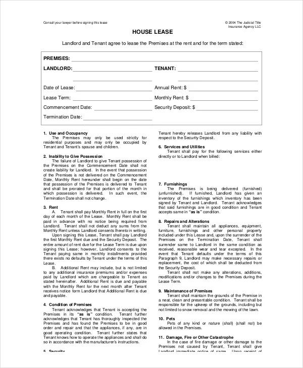 Lease Templates house lease template 6 free word pdf documents – Lease Template Word
