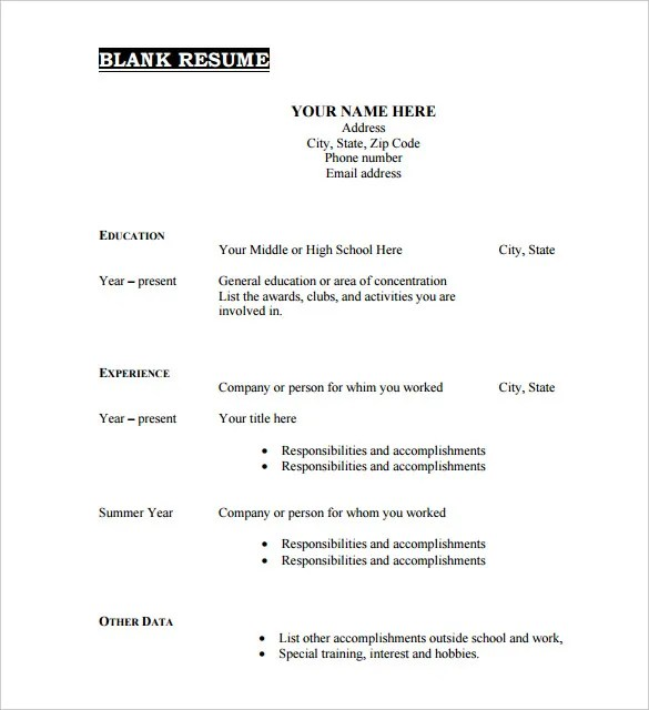 blank form of resume resume blank forms to fill out resume samples