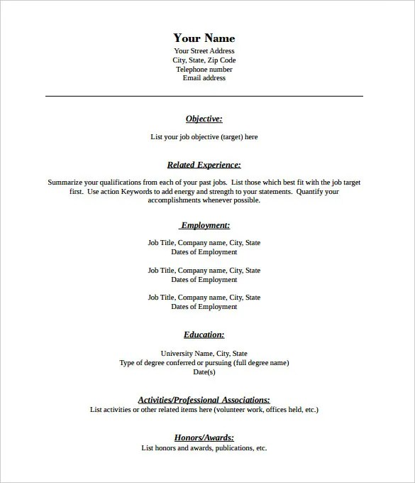 Free Blank Resume Template Resume Sample