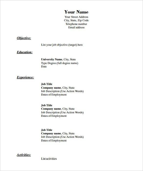 Blank Acting Resume To Fill Out. Blank Resume To Fill Out Free