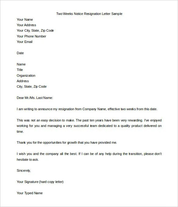 How To Make A Resignation Letter For Work Sample - Cover Letter ...