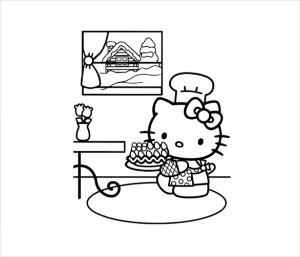 Hello Kitty Coloring Page 10 Free PSD AI Vector EPS