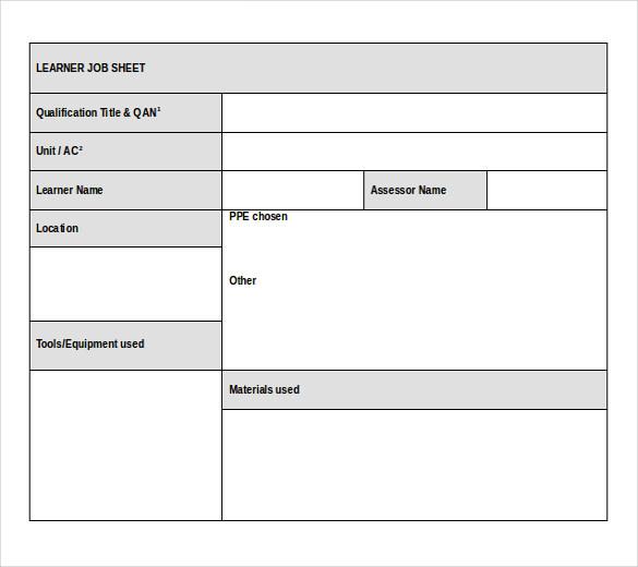 Template For Attendance sample letters of resignation – Sample Job Sheet Template