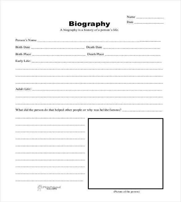 Fill In The Blank Bio Templates