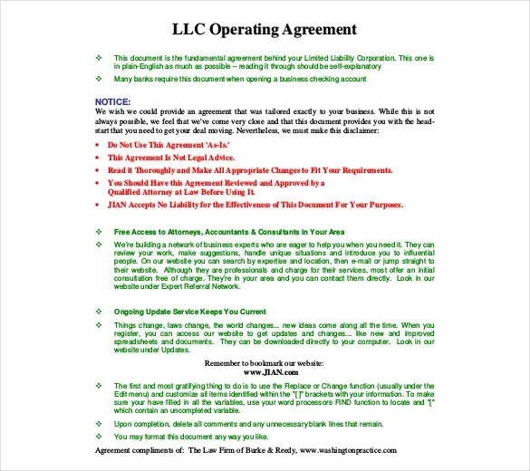 Operating Agreement Template 12 Free Word Pdf Document