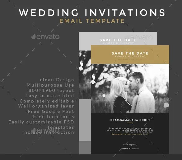Wedding Invitation Email Template Photo Psd Format