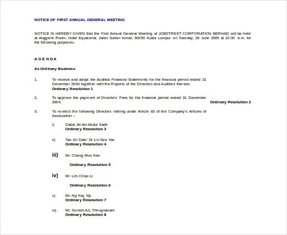 29 Notice Of Meeting Templates Pdf Google Docs Ms Word