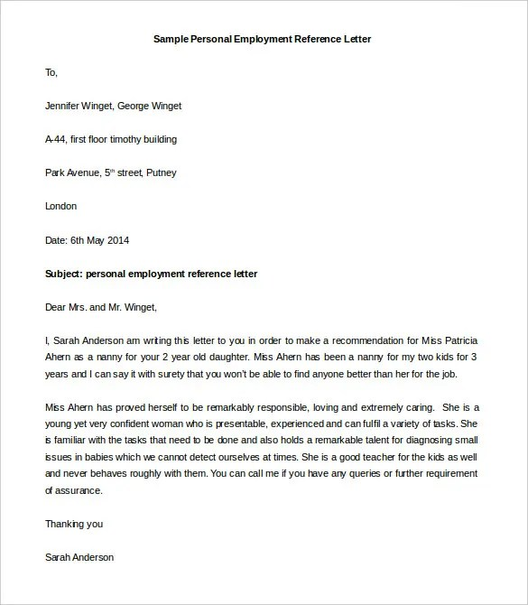 Nanny Reference Letter AtarprodinfoEmployment Reference Letters – Reference Letter Sample for Employment