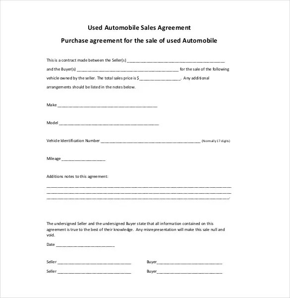 Sales Agreement Template 22 Word Pdf Google Docs