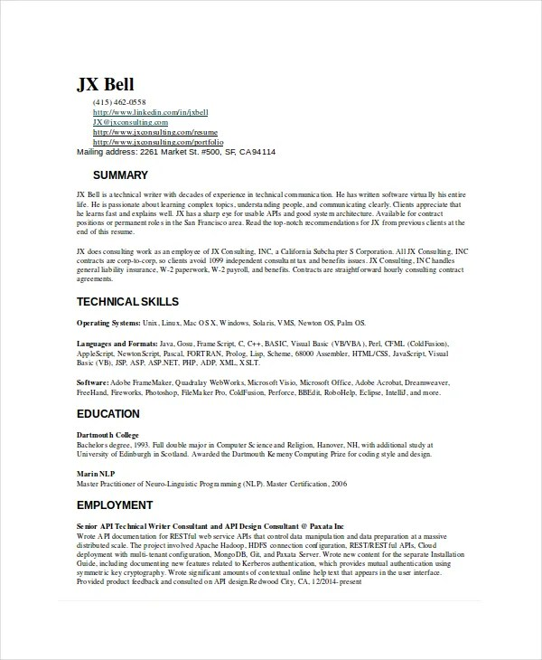 technical writer resume samples