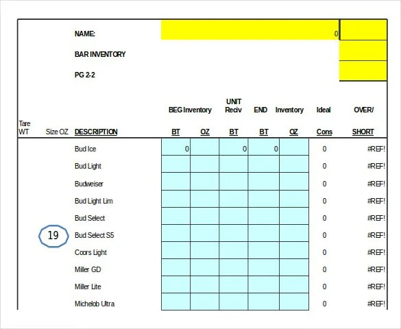 13 Bar Inventory Template Word Excel Numbers Apple