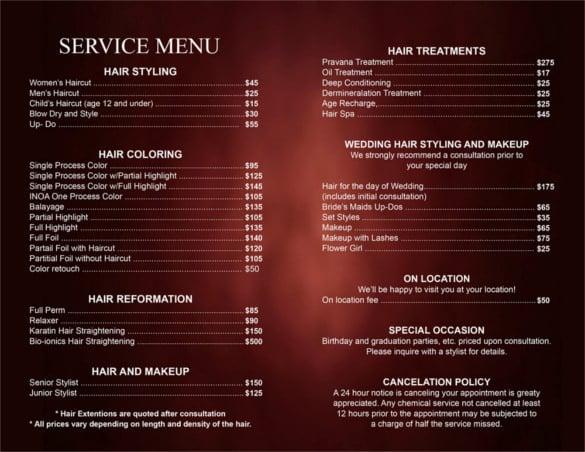 Salon Menu Templates. wellness amp massage athletis fitness amp ...