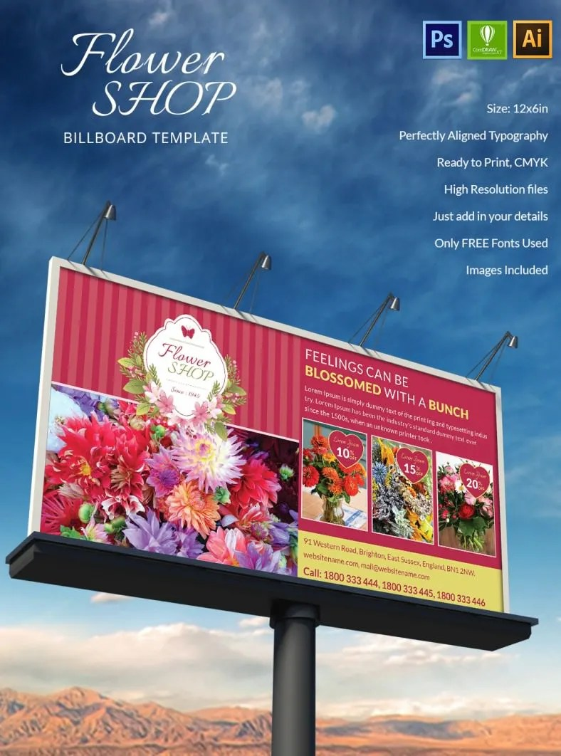 Dazzling Flower Shop Billboard Mockup Free Premium Templates