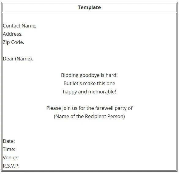 Farewell Party Invitation Email Subject Image Gallery  Hcpr