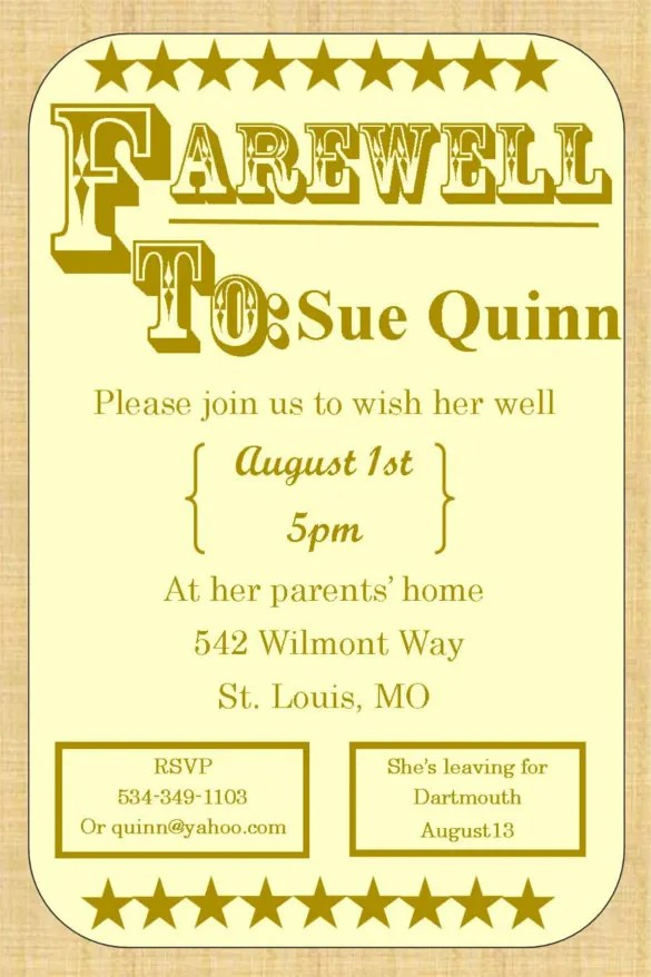 Best Design Of Farewell Invitation Template