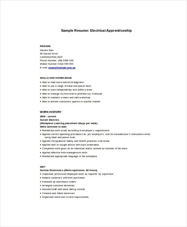 electrician apprentice resume