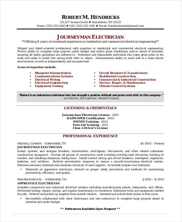electrician resume samples sample resumes electrician resume