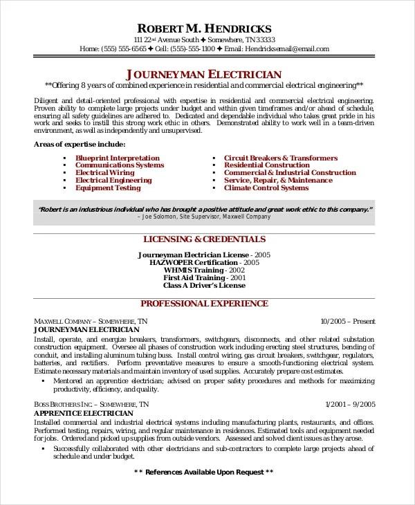 Journeyman Resume Examples. Resumes Journeyman Electrician Resume