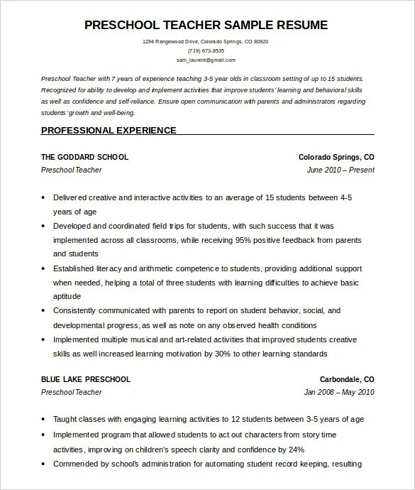 Preschool Teacher Resume Objective. Resume For A Preschool Teacher