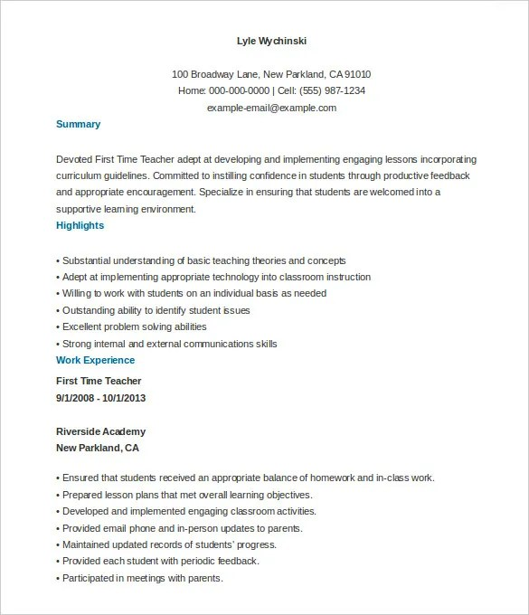 51 teacher resume templates free sample example format - First Time Resume Templates
