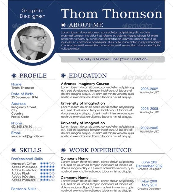 Best One Page Resume Sample. 41 One Page Resume Templates Free