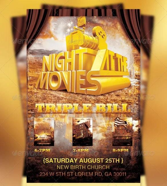 20 Movie Night Flyer Templates Ai Psd Word Free