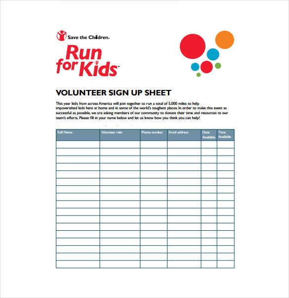 Sign Up Sheet Templates sample sign up sheet 8 example format – Volunteer Sign Up Sheet Printable