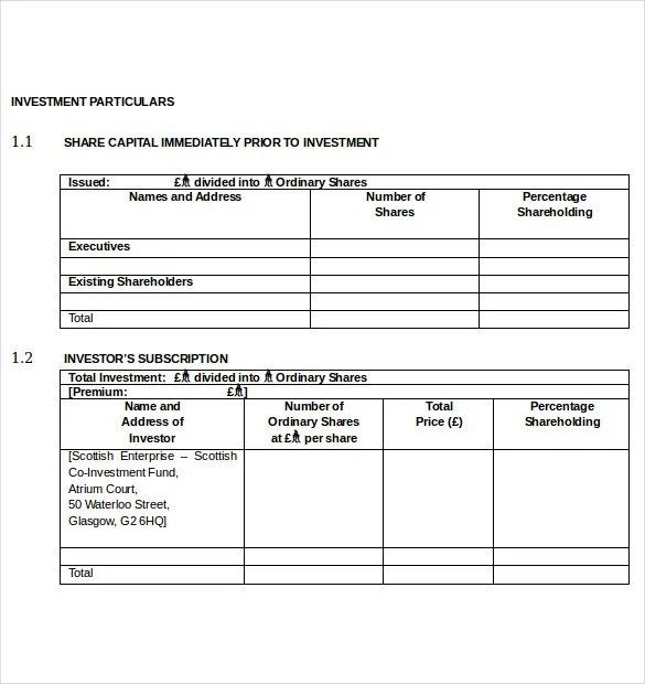 Simple Investment Agreement Template Contract Partnership