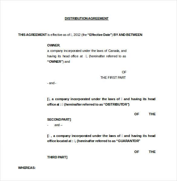 Distribution Agreement Template Free  free blood sugar chart