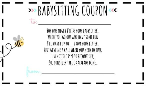 13 Babysitting Voucher Templates Psd Ai Indesign Word