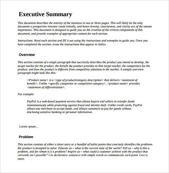 Executive Summary Resume. Resume Executive Summary Template