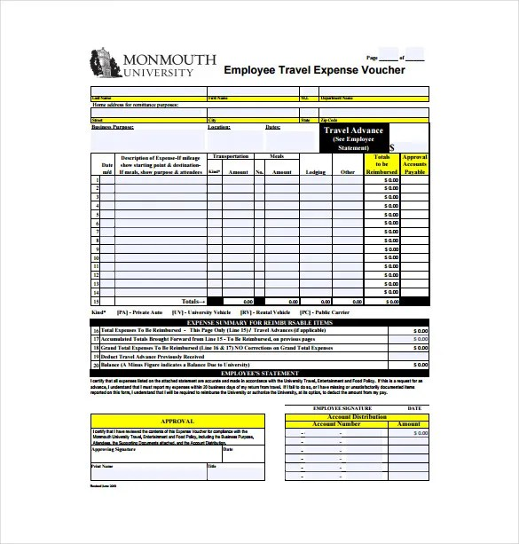 Travel Expense Sample Excel | Myvacationplan org