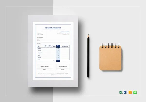 20  Consultant Timesheet Templates     Free Sample  Example Format     sample consultant timesheet template