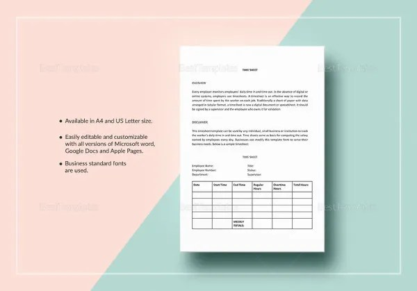 21  Weekly Timesheet Templates     Free Sample  Example Format     Time Sheet Template