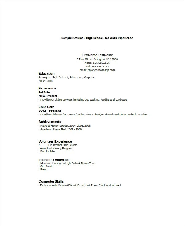 Resume Template For High School Student With No Work