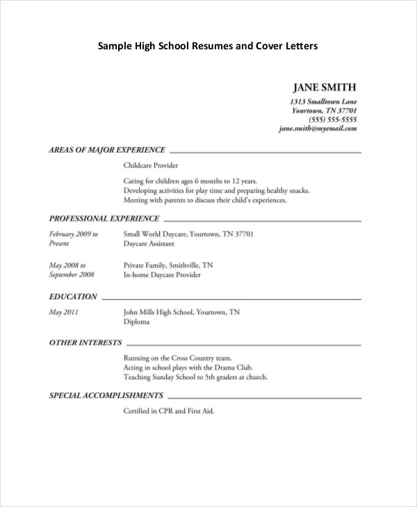 High School Resume Template Word - Resume Sample
