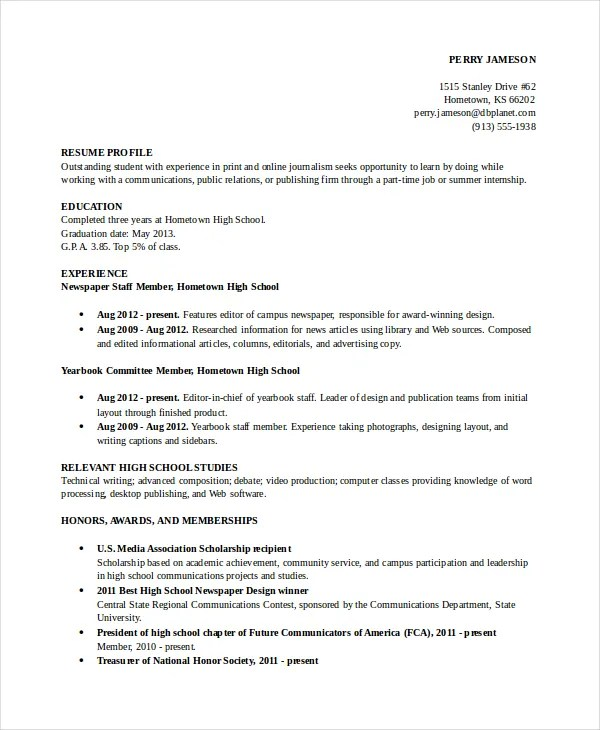 Good Resume Sample For High School Student. Student Job Resume