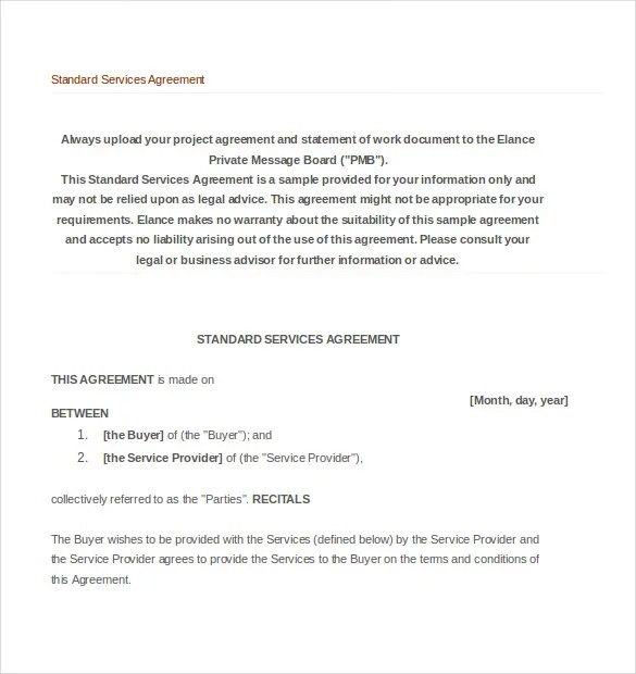 terms of service agreement template free rent to own agreement – Format of Service Agreement
